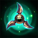"""Naisha's Memento: Activate to make primary Basic Attacks bounce between nearby enemies up to 2 times. Lasts <span class=""""value-color"""">8</span> seconds.<br/><br/>Recharge Naisha's Memento by hitting at least <span class=""""value-color"""">2</span> Heroes with a single Fan of Knives."""