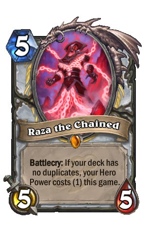 Image of Raza the Chained Hearthstone Card